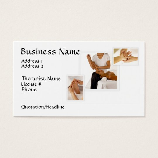 Massage Therapy Business Card, white background Business Card