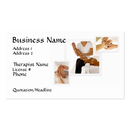 Massage Therapy Business Card, white background Pack Of Standard Business Cards