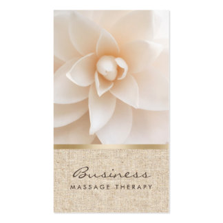 Massage Therapy Classy Flower & Burlap Healing Spa Business Card