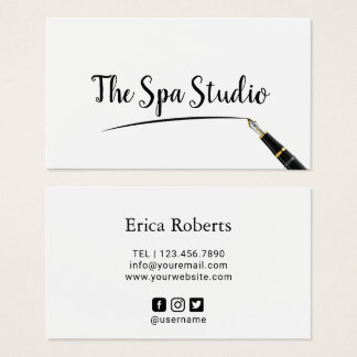Massage Therapy Elegant Fountain Pen Writing Business Card