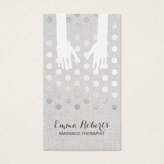 Massage Therapy Healing Hands Silver Dots Linen Business Card