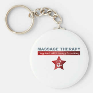 Massage Therapy in Ruby Red Basic Round Button Keychain