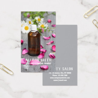 Massage Therapy Rose Essential Oil Aromatherapy Business Card