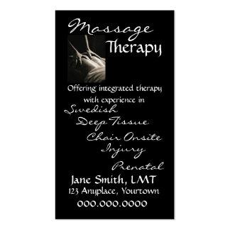 Massage Therapy Sleek Black Business Card