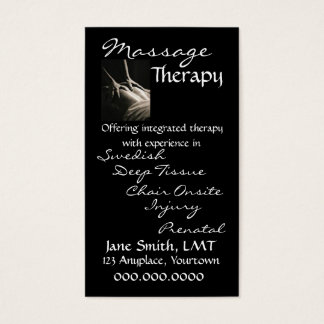 Massage Therapy Sleek Black Business Card