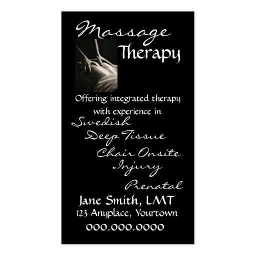 Massage Therapy Sleek Black Business Cards