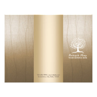 Massage Therapy Yoga Spa Vintage Tree Tri-Fold Flyer