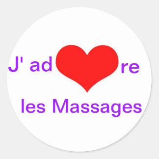 Massages de les de J'adore Sticker Rond