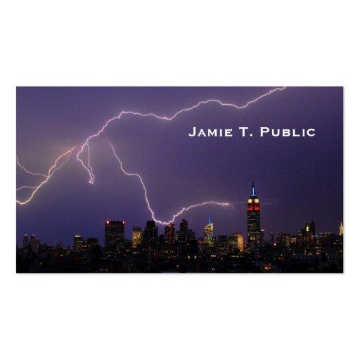 Massive Lightning Strike On Midtown NYC Skyline #3 Business Cards