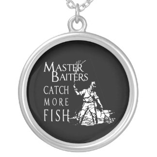 MASTER BAITERS CATCH MORE FISH - SILVER PLATED NECKLACE