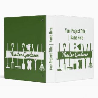 Master Gardener Simple Modern Green Personalized 3 Ring Binder