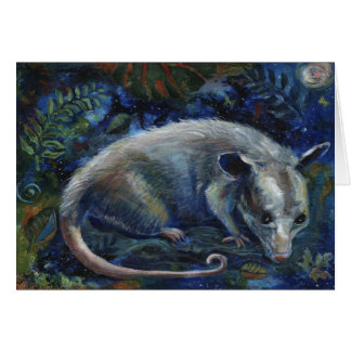 """""""Master of the Night"""", an opossum greeting card"""