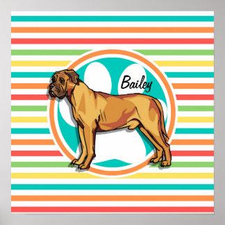 Mastiff Bright Rainbow Stripes Print