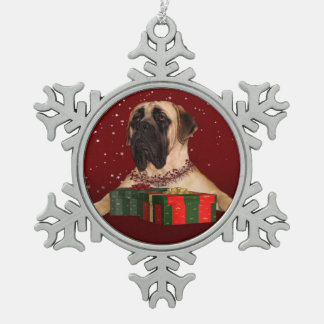 Mastiff Christmas Snowflake Pewter Christmas Ornament