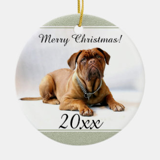 Mastiff / Dog Green Frame Personalized Christmas Ceramic Ornament