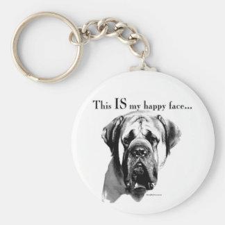 Mastiff Happy Face Keychain