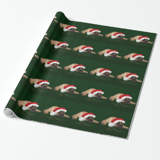 Mastiff in a Santa hat Wrapping Paper