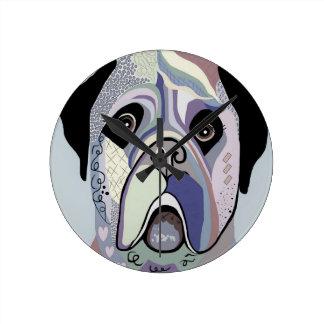 Mastiff in Denim Colors Round Clock