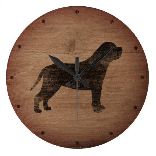 Mastiff Silhouette Rustic Wallclocks
