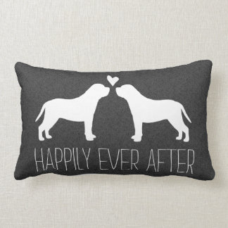 Mastiff Silhouettes with Heart and Text Lumbar Pillow