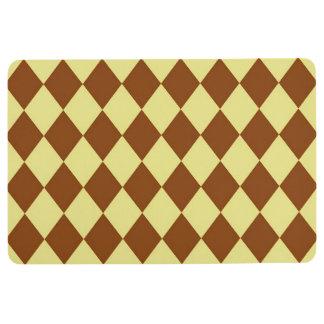 Mat: Khaki & Brown Diamonds Floor Mat