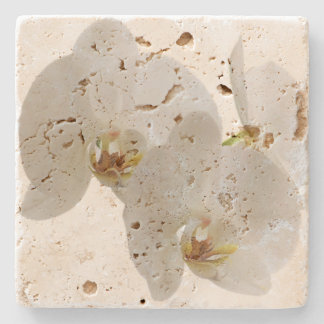 mat with orchid stone coaster