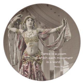 Mata Hari Bellydance Dancer Quote Party Plate