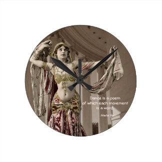 Mata Hari Bellydance Dancer Quote Round Clock