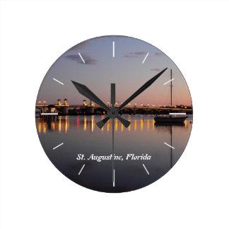 Matanzas Bay & Bridge of lions, St. Augustine, FL Round Clock