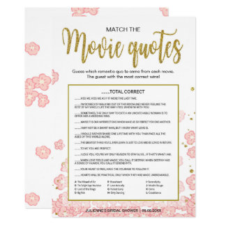 Match the Movie Quotes Game | Pink and Gold Glitte Card