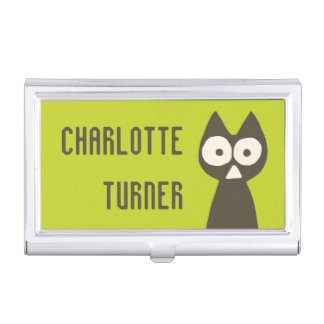 Matcha Green Brown Triangle Cat Business Card Holder