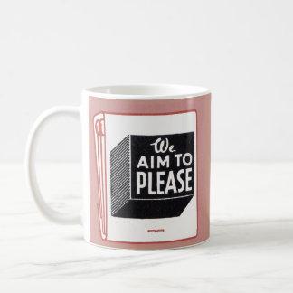matchbook cover We Aim to Please Coffee Mug