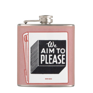 matchbook cover We Aim to Please Hip Flask