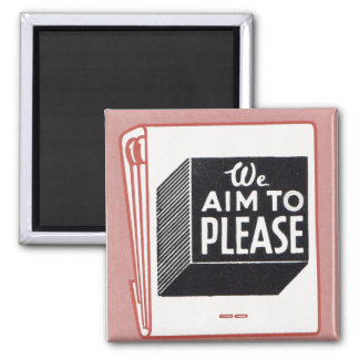 matchbook cover We Aim to Please Magnet