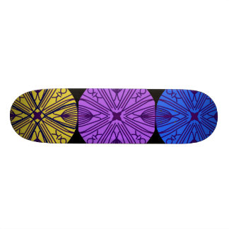 Matching mandalas in three complimentary colors. skate board decks