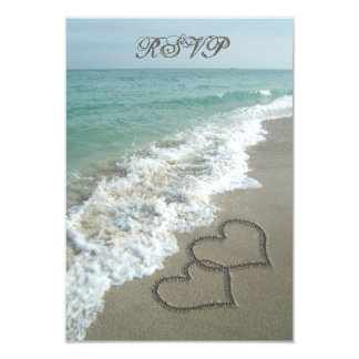 Matching RSVP Card, Two Sand Hearts Beach Wedding Invitations