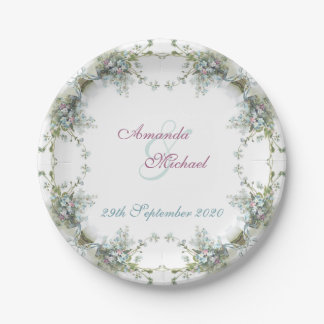 Matching wedding set forget me nots paper plate