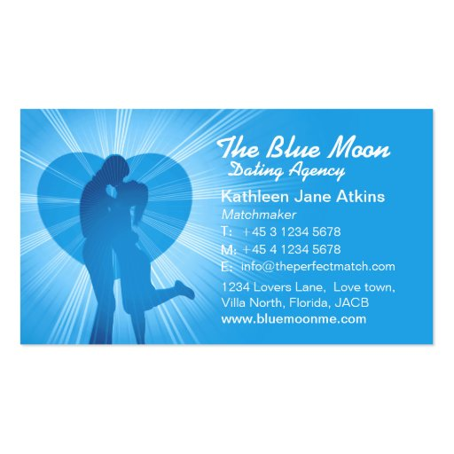 Matchmaker dating agency blue business card