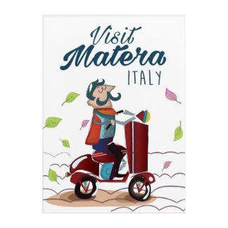 Matera Italy Cartoon Scooter travel print Acrylic Print