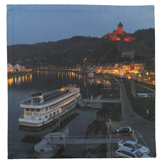 Material napkins Cochem at Moselle in the evening