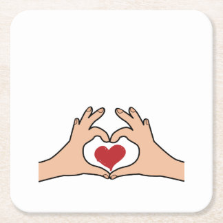Maternity Hands Heart Funny pregnancy for women Square Paper Coaster