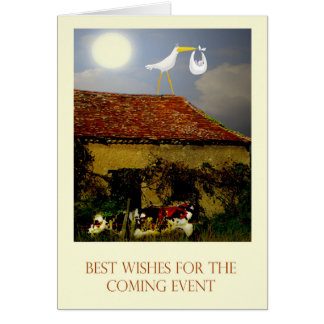 Maternity leave best wishes, stork, baby, moon greeting card