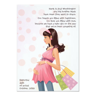 "Maternity Mom Pregnancy (Girl) Announcement 5"" X 7"" Invitation Card"
