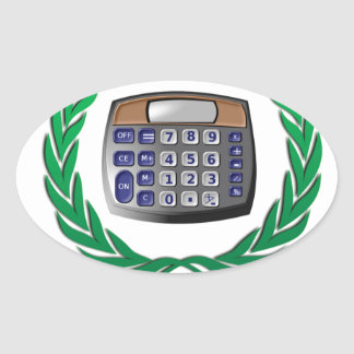 math award calculator oval sticker