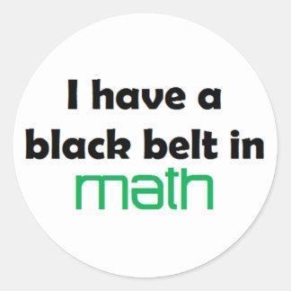 Math black belt classic round sticker