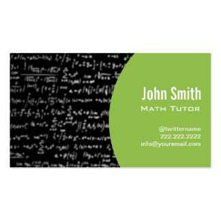 Math Equations Math Tutor Business Card green