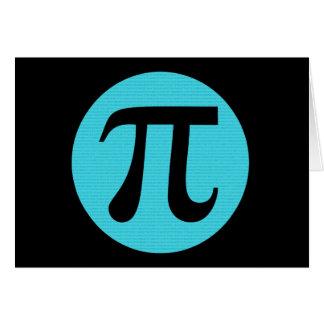 Math geek Pi symbol, blue on black Card