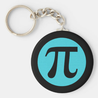 Math geek Pi symbol, blue on black Keychain