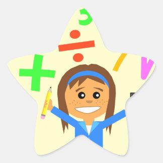 Math Girl Cartoon Star Sticker