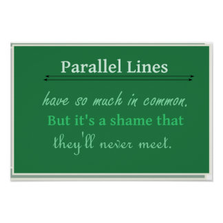 Math Humor Quote Parallel Lines Poster